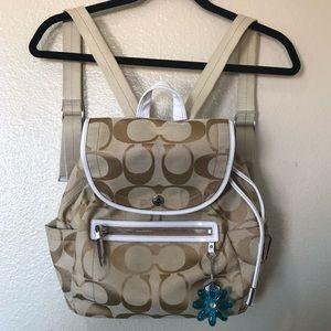 Tan coach classic signature drawstring backpack